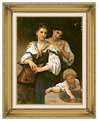 William Bouguereau The Secret canvas with gallery gold wood frame
