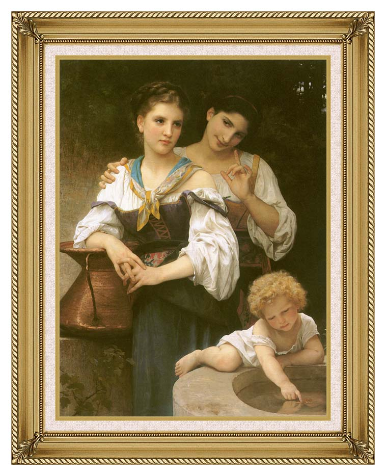 William Bouguereau The Secret with Gallery Gold Frame w/Liner