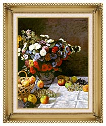 Claude Monet Still Life Flowers And Fruit canvas with gallery gold wood frame