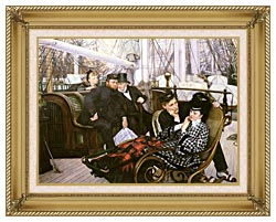 James Tissot The Last Evening canvas with gallery gold wood frame