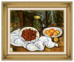 Paul Cezanne Still Life With Cherries And Peaches canvas with gallery gold wood frame