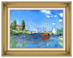 Claude Monet Red Boats Argenteuil 1875 canvas with gallery gold wood frame
