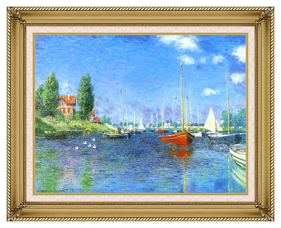 Claude Monet Red Boats, Argenteuil 1875 with Gallery Gold Frame w/Liner