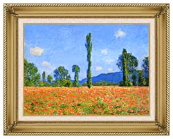 Claude Monet Poppy Field canvas with gallery gold wood frame