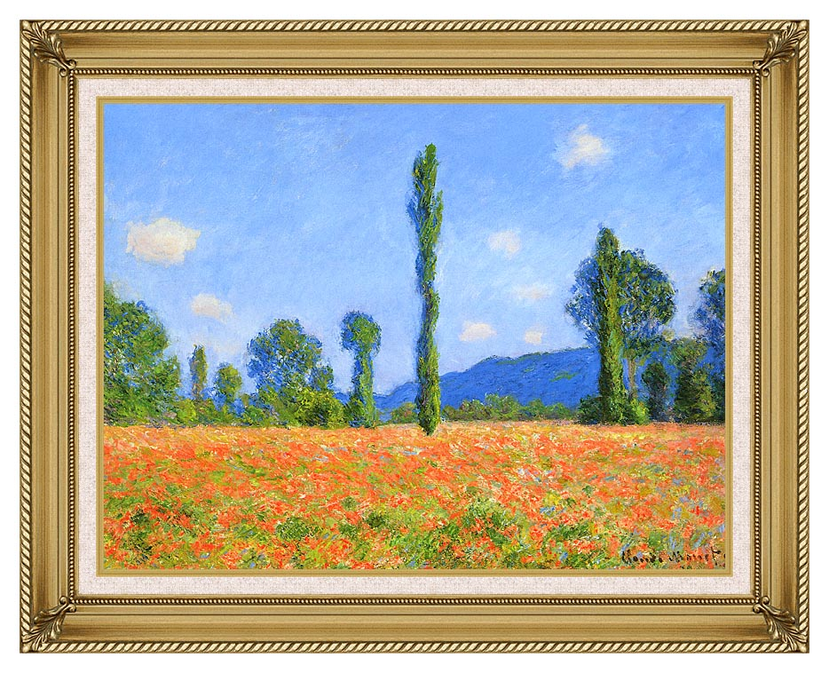 Claude Monet Poppy Field with Gallery Gold Frame w/Liner