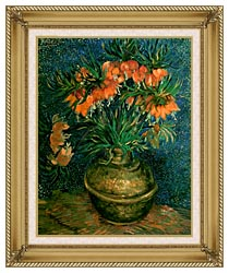 Vincent Van Gogh Fritillaries In A Copper Vase canvas with gallery gold wood frame
