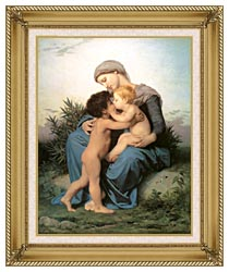 William Bouguereau Fraternal Love canvas with gallery gold wood frame