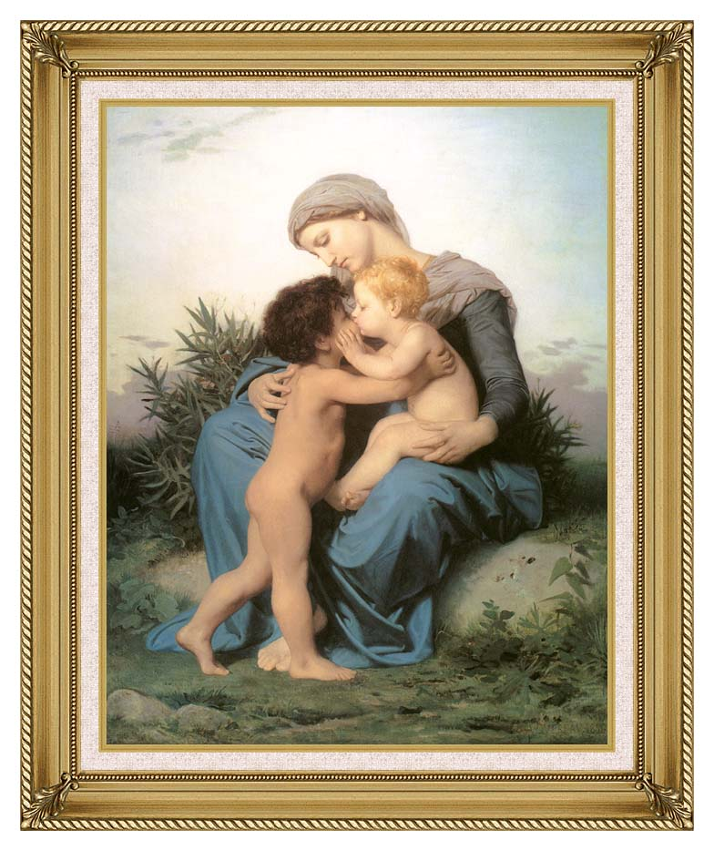 William Bouguereau Fraternal Love with Gallery Gold Frame w/Liner