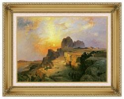 Thomas Moran Hopi Village Arizona canvas with gallery gold wood frame