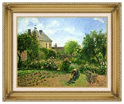 Camille Pissarro The Artists Garden At Eragny 1898 canvas with gallery gold wood frame