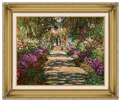 Claude Monet Main Path Through The Garden At Giverny Detail canvas with gallery gold wood frame