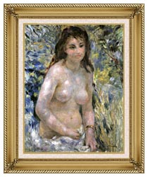 Pierre Auguste Renoir Nude In Sunlight canvas with gallery gold wood frame