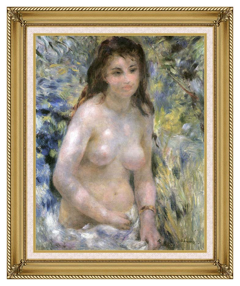 Pierre Auguste Renoir Nude in Sunlight with Gallery Gold Frame w/Liner
