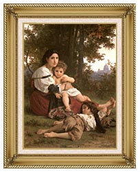 William Bouguereau Rest canvas with gallery gold wood frame