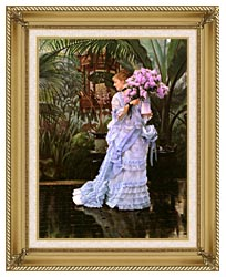 James Tissot The Bunch Of Lilacs canvas with gallery gold wood frame