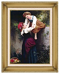 William Bouguereau Little Marauders canvas with gallery gold wood frame