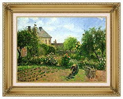 Camille Pissarro The Artists Garden At Eragny canvas with gallery gold wood frame