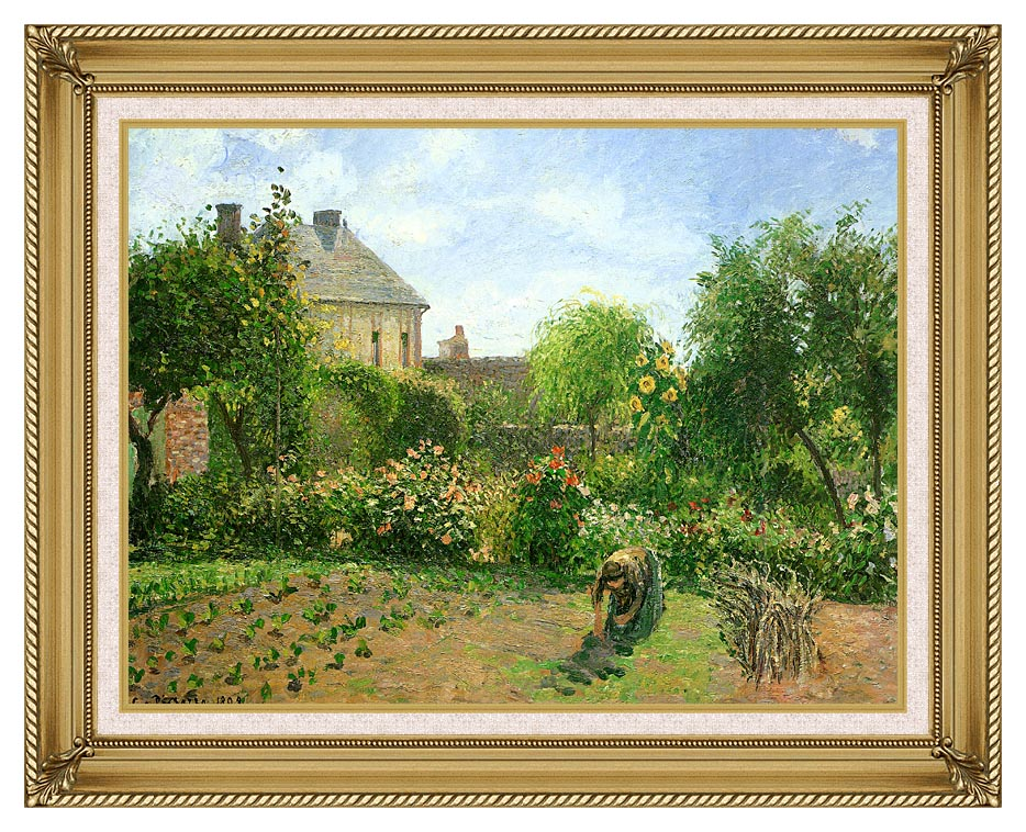 Camille Pissarro The Artist's Garden at Eragny with Gallery Gold Frame w/Liner