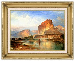 Thomas Moran Cliffs Of Green River canvas with gallery gold wood frame