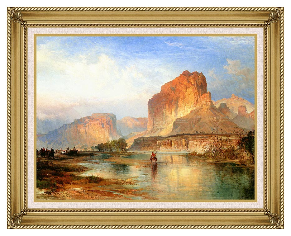 Thomas Moran Cliffs of Green River with Gallery Gold Frame w/Liner