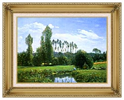 Claude Monet View From Rouelles Monets First Painting canvas with gallery gold wood frame