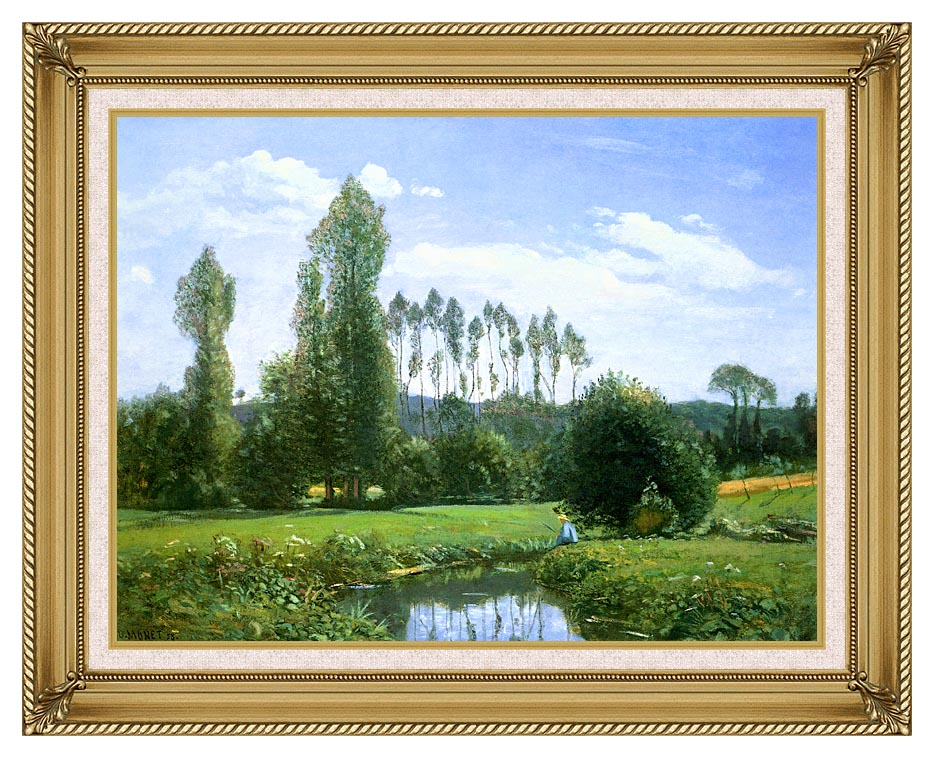 Claude Monet View from Rouelles (Monet's First Painting) with Gallery Gold Frame w/Liner