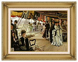 James Tissot The Ball On Shipboard canvas with gallery gold wood frame