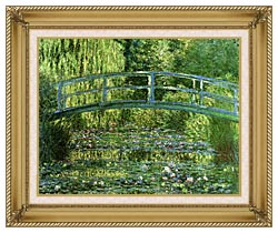 Claude Monet Water Lily Pond Harmony In Green canvas with gallery gold wood frame