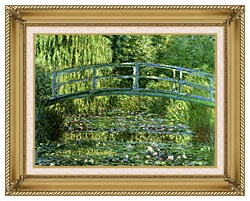 Claude Monet Water Lily Pond Harmony In Green Detail canvas with gallery gold wood frame