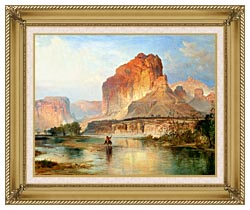 Thomas Moran Cliffs Of Green River Detail canvas with gallery gold wood frame
