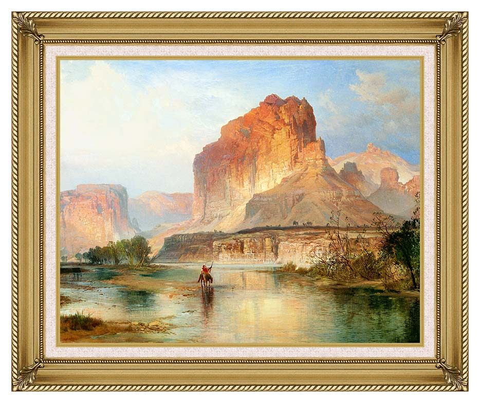 Thomas Moran Cliffs of Green River (detail) with Gallery Gold Frame w/Liner