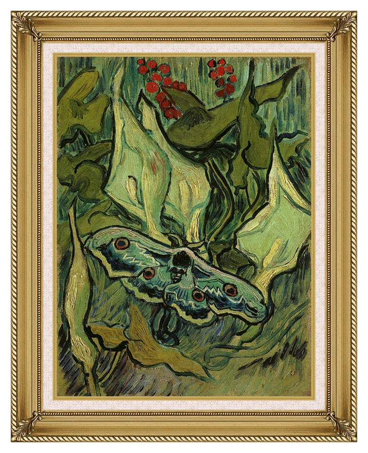 Vincent van Gogh Emperor Moth with Gallery Gold Frame w/Liner