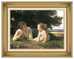 William Bouguereau Temptation canvas with gallery gold wood frame