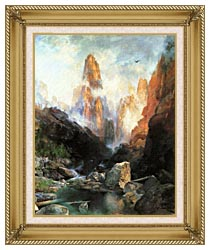Thomas Moran Mist In Kanab Canyon Utah 1892 canvas with gallery gold wood frame