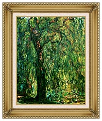 Claude Monet Weeping Willow Detail canvas with gallery gold wood frame