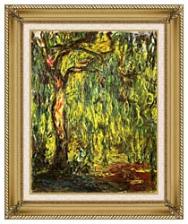 Claude Monet Landscape Weeping Willow canvas with gallery gold wood frame