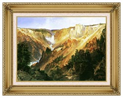 Thomas Moran Lower Falls Of The Yellowstone canvas with gallery gold wood frame