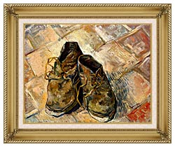 Vincent Van Gogh A Pair Of Old Shoes canvas with gallery gold wood frame