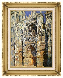Claude Monet Rouen Cathedral The Portal And The Tour Sainte Romain Full Sunlight Harmony In Blue And Gold canvas with gallery gold wood frame