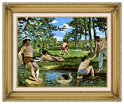 Frederic Bazille Summer Scene canvas with gallery gold wood frame