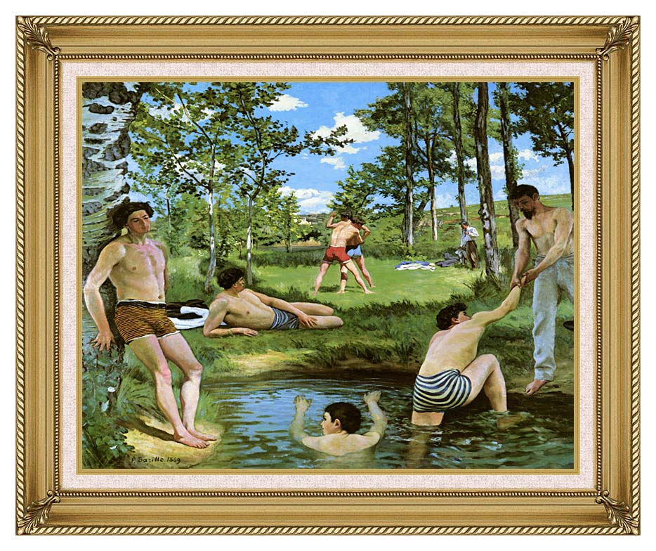 Frederic Bazille Summer Scene with Gallery Gold Frame w/Liner