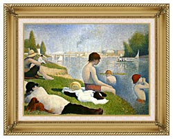 Georges Seurat Bathers At Asnieres canvas with gallery gold wood frame