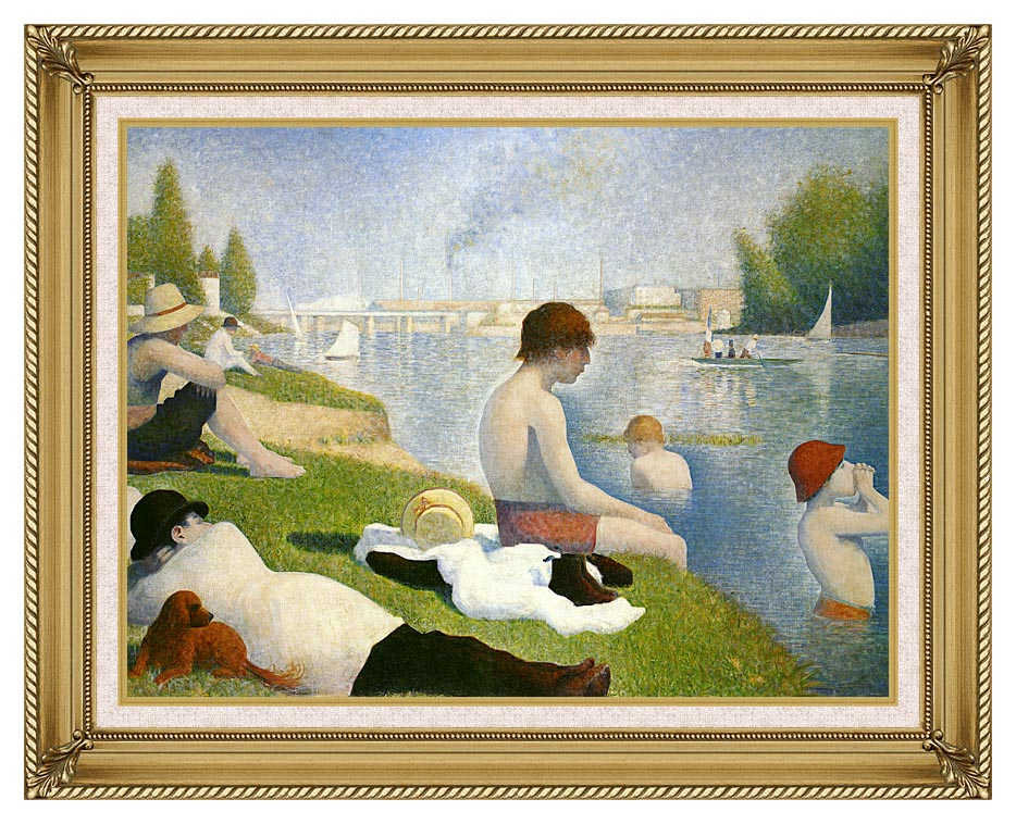 Georges Seurat Bathers at Asnieres with Gallery Gold Frame w/Liner