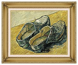 Vincent Van Gogh A Pair Of Leather Clogs canvas with gallery gold wood frame
