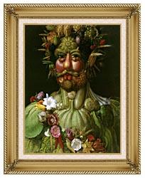 Giuseppe Arcimboldo Vertumnus canvas with gallery gold wood frame