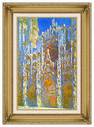 Claude Monet Rouen Cathedral Sunlight Effect canvas with gallery gold wood frame