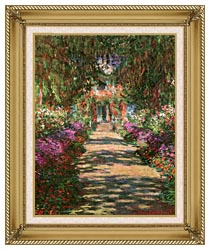 Claude Monet Main Path Through The Garden At Giverny Portrait Detail canvas with gallery gold wood frame