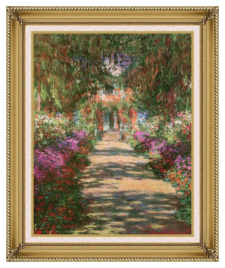 Claude Monet Main Path through the Garden at Giverny (portrait detail) with Gallery Gold Frame w/Liner