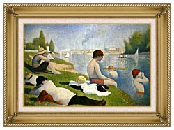 Georges Seurat Bathers At Asnieres Detail canvas with gallery gold wood frame