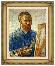 Vincent Van Gogh Self Portrait As An Artist canvas with gallery gold wood frame